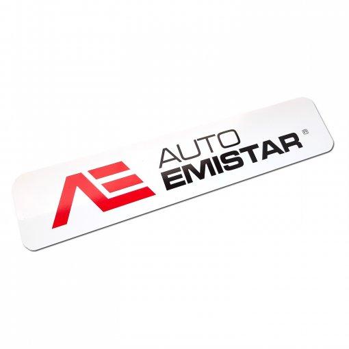Stół reklamowy z logo zamiast tablicy rejestracyjnej Auto Emistar